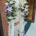 διακοσμηση λαμπαδας λευκο λιλα