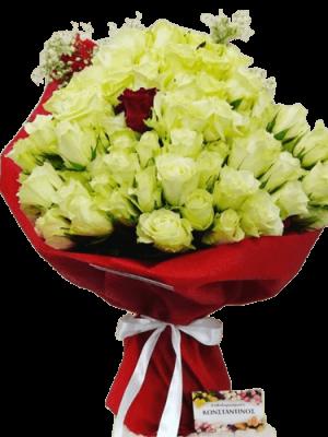101 white red roses
