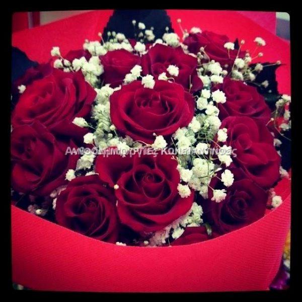 μπουκετο παθους μς 10 κοκκινα τριανταφυλλα anthopolio thessaloniki