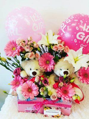λουλούδια με μπαλόνια και αρκουδάκια για γεννητούρια. Δωρεάν αποστολη σε νοσοκομεία και κλινικές στην Θεσσαλονίκη άνω των 50€