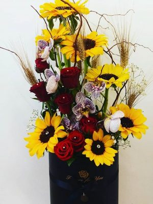 mix flowers in a box