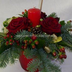συνθεση κερι με λουλουδια