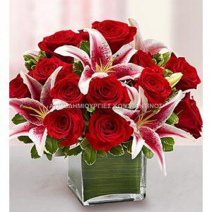 συνθεση με λουλουδια κοκκινα