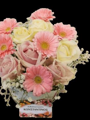 Κουτί με ποικιλία λουλουδιών σε λευκό ρόζ αποχρώσεις. Αυθημερόν Παράδοση στη Θεσσαλονίκη! Ανθοπωλείο Ανθοδημιουργίες, Τούμπα Θεσσαλονίκης