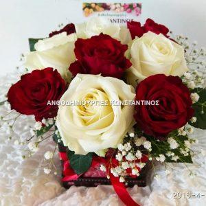 συνθεση λουλουδιων σε ομορφο κουτι