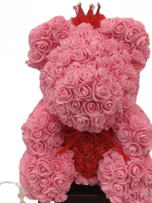 ROSE BEAR PINK RED HEART
