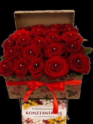 25 Μοναδικά Τριαντάφυλλα σε κουτί! Αυθημερόν Παράδοση στη Θεσσαλονίκη! Online ανθοπωλείο ανθοδημιουργίες, στην Τούμπα Θεσσαλονίκης