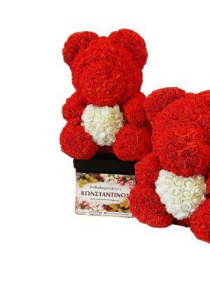 Αρκουδάκι με Τριαντάφυλλα κόκκινο με λευκή καρδιά
