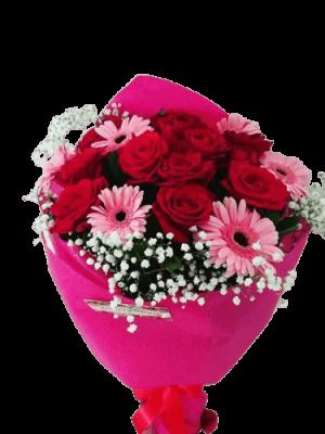 Ανθοδέσμη με Τριαντάφυλλα και Μαργαρίτες