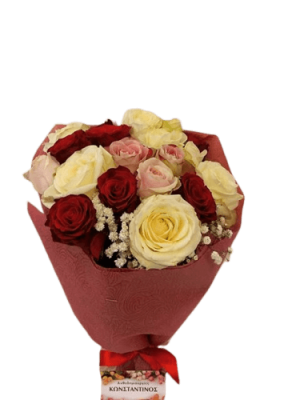 white red roses in a box