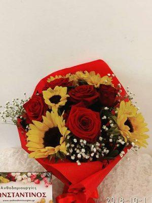 ανθοδέσμη με ηλίανθους και τριαντάφυλλα