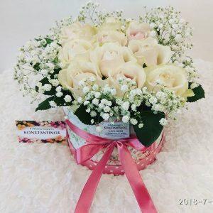 κουτί με κρεμ τριαντάφυλλα