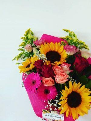 ονλινε παραγγελίας ανθοδέσμης με τριαντάφυλλα και ηλίανθους για ορκομωσία στο πανεπιστημιο Μακεδονίας