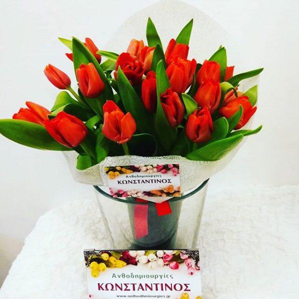 μπουκετο με 20 κοκκινες τουλιπες φτιαξαμε για την ημερα των ερωτευμενων Ανθοπωλείο Ανθοδημιουργίες Τούμπα Θεσσαλονίκης