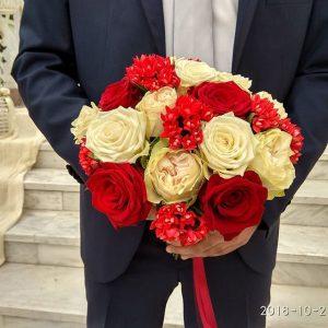 ανθοδέσμη γάμου εκρού μπορντώ