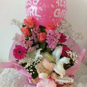 λουλουδια μπαλονια και αρκουδακι για γεννα