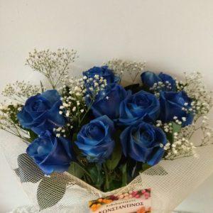 ανθοδεσμη με μπλε τριανταφυλλα