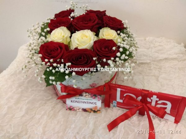 flower box with chocolate - Τριαντάφυλλα σε κουτί με σοκολάτα! Αυθημερόν delivery στη Θεσσαλονίκη! Online Ανθοπωλείο Ανθοδημιουργίες Τούμπα Θεσσαλονίκης