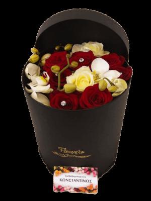 Σύνθεση με Ορχιδέες και Τριαντάφυλλα σε πολυτελές κουτί! Αυθημερόν delivery στη Θεσσαλονίκη! Ανθοπωλείο αντθοδημιουργίες, Τούμπα Θεσσαλονίκης