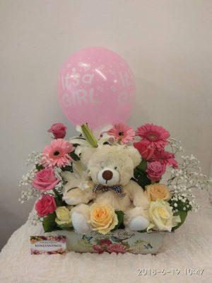 ανθη με μπαλονια και λουτρινα