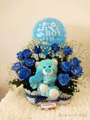 COMPOSITION WITH BLUE ROSES AND BEAR MISSIONS GENESIS INTERBALKAN GENERAL CLINIC PAPAGEORGIOU
