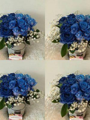 BLUE ROSES IN A BOX - Τριαντάφυλλα σε κουτί στη Θεσσαλονίκη! Αυθημερόν Παράδοση! Online Ανθοπωλείο Ανθοδημιουργίες, στην Τούμπα Θεσσαλονίκης