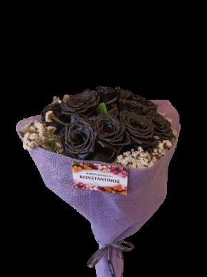12 Μαύρα Τριαντάφυλλα Ανθοδέσμη | Ανθοπωλείο Ανθοδημιουργίες Τούμπα Θεσσαλονίκης