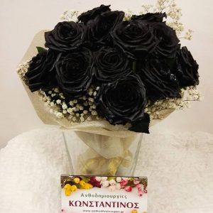 μια ντουζίνα μαύρα τριαντάφυλλα παδώσαμε για λογαριασμό πελάτη μας στην θεσσαλονίκη