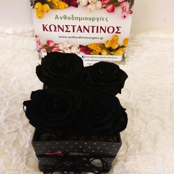 FOREVER ROSES BLACK IN A BOX | Ανθοπωλείο Ανθοδημιουργίες Τούμπα Θεσσαλονίκη