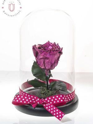 τριαντάφυλλο μεταλλικό ροζ σε γυάλινη καμπάνα Θεσσαλονίκη | Online ανθοπωλείο ανθοδημιουργίες Τούμπα Θεσσαλονίκης