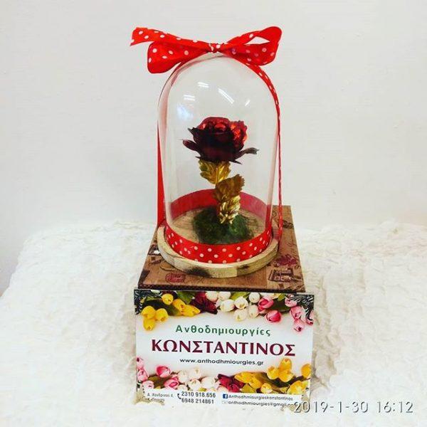κοκκινο επίχρυσο τριαντάφυλλο σε γυαλα