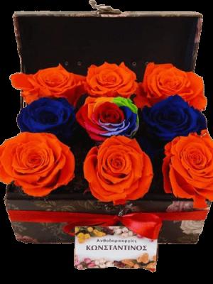 Forever Roses στη Θεσσαλονίκη! σύνθεση με 9 Τριαντάφυλλα σε αποχρώσεις μπλε, πορτοκαλί ,ουράνιου τόξου σε ιδιαίτερο μπαούλο | Ανθοπωλείο Ανθοδημιουργίες Τουμπα Θεσσαλονικη