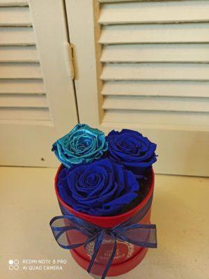 3 BLUE FOREVER ROSES