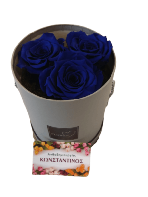 3 BLUE FOREVER ROSES IN A BOX