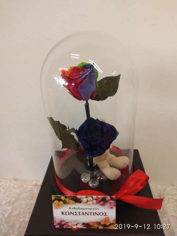 FOREVER BLUE AND RAINBOW ROSES | Forever Roses Ανθοπωλείο Ανθοδημιουργίες Τούμπα Θεσσαλονίκη
