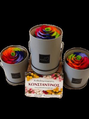 Rainbow Forever Roses - Αιώνια τριαντάφυλλα Forever Roses σε κουτί