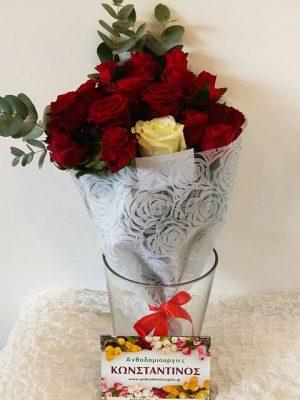 Ανθοδέσμη με 20 Τριαντάφυλλα στη Θεσσαλονίκη | Online ανθοπωλείο ανθοδημιουργίες Τούμπα Θεσσαλονίκης