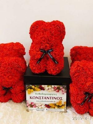 χειροποιητο αρκουδακι με κοκκινα τριαντάφυλλα