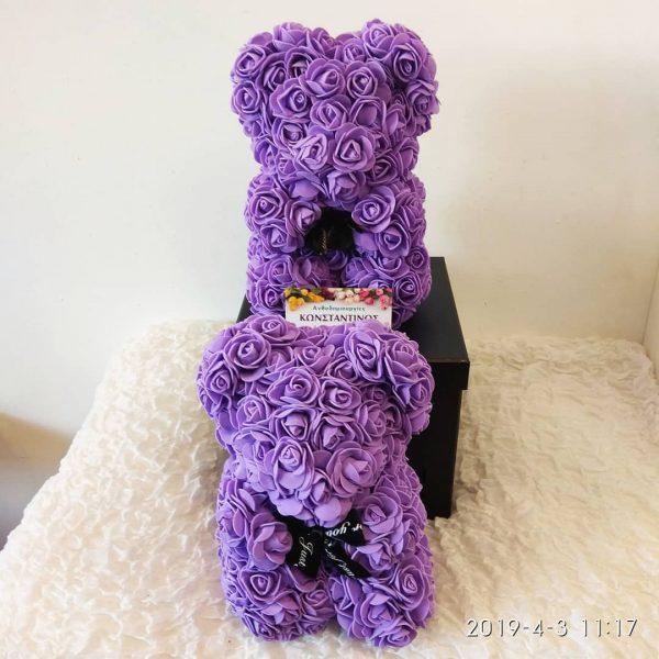 αρκουδάκι με τριαντάφυλλα σε λιλά χρώμα