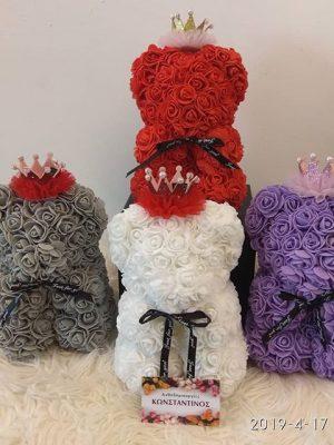 αρκουδάκια με τριαντάφυλλα σε διάφορα χρώματα θα βρείτε στο ανθοπωλείο Ανοδημιουργίες Κωνσταντίνος