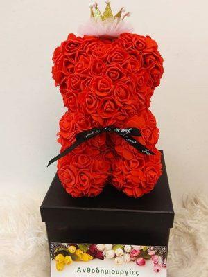 αρκουδάκι με τριαντάφυλλα σε τιμή προσφοράς