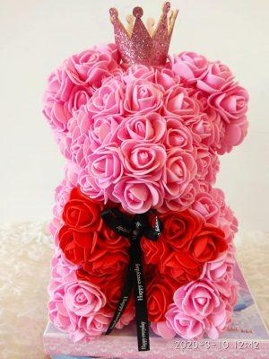 Αρκουδάκι πριγκίπισσα από ροζ & κόκκινα τριαντάφυλλα Θεσσαλονίκη | Online ανθοπωλείο ανθοδημιουργίες Τούμπα Θεσσαλονίκης