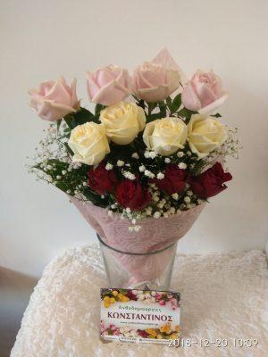 ανθοδέσμη με 12 τριαντάφυλλα