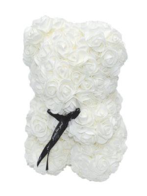 Αρκουδάκι με Λευκά Τριαντάφυλλα σε Κουτί Δώρου