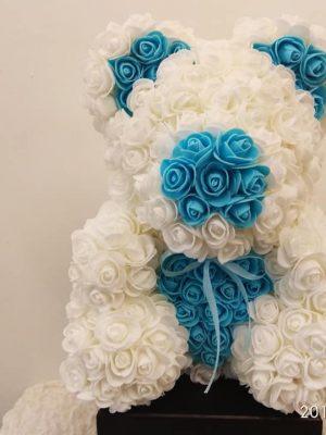 ROSE BEAR WHITE & LIGHT BLUE