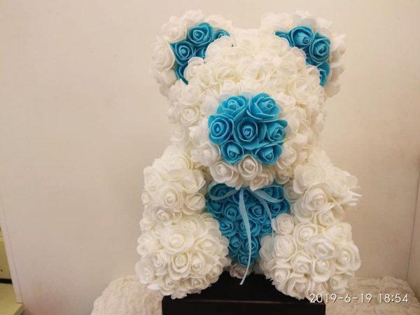 rose bear white and light blue