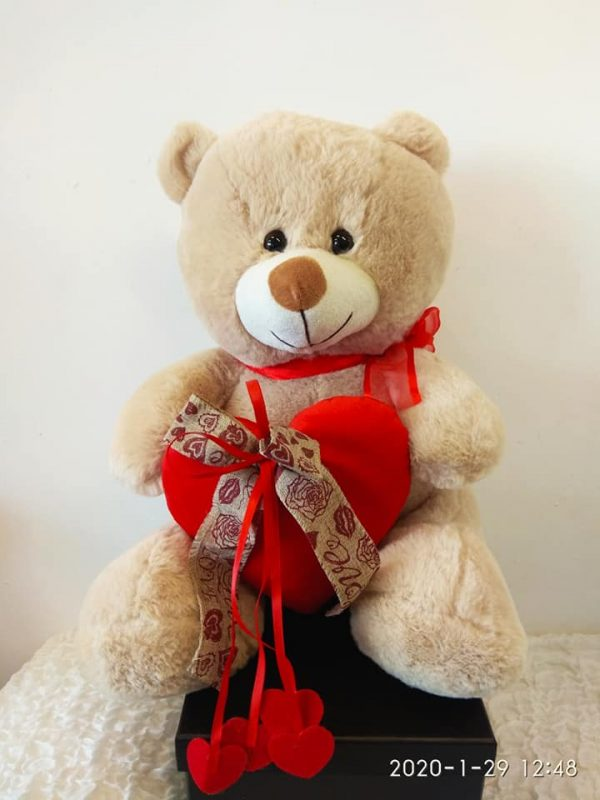 TEDDY BEAR BROWN RED HEART