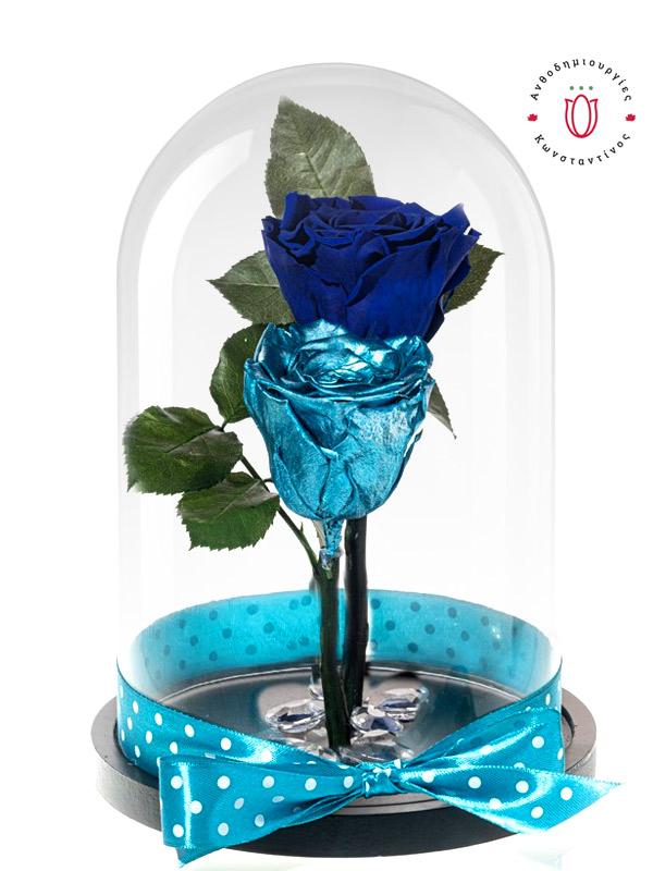 Forever Roses BLUE & METALLIC BLUE FOREVER ROSES   Ανθοπωλείο Ανθοδημιουργίες Τούμπα Θεσσαλονίκη