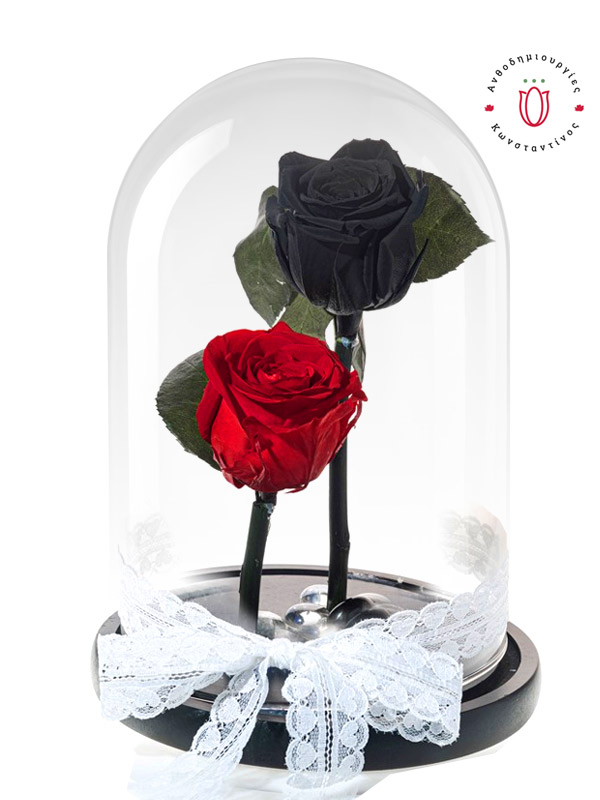 FOREVER ROSES BLACK & RED IN A GLASS