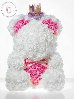 BIG ROSEBEAR WHITE & PINK HEART